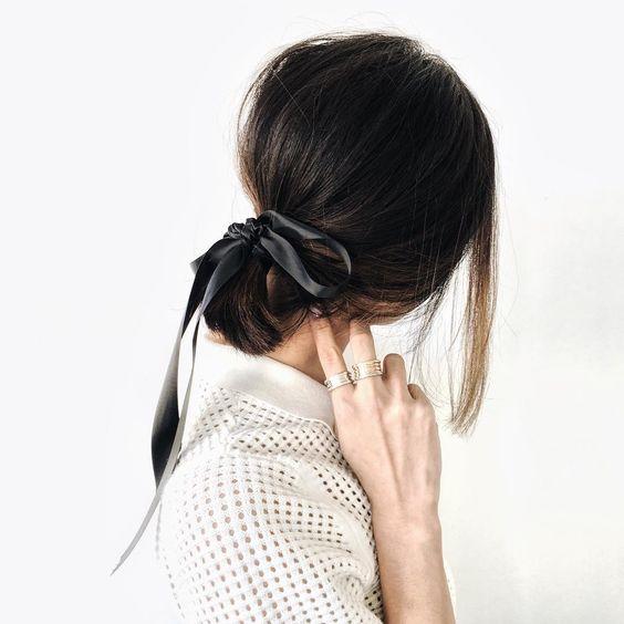 Hair with a bow.
