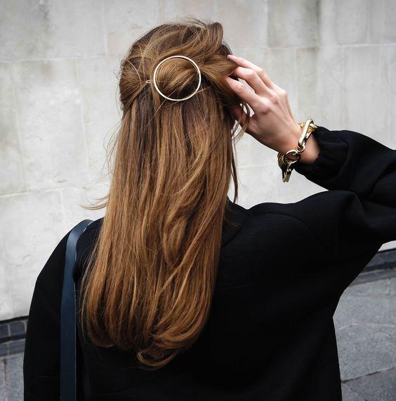 Hair with a clip.