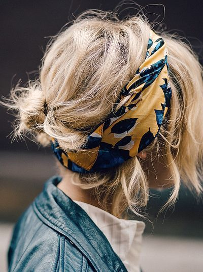 Hair with a head scarf.